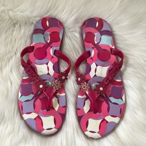 Coach Kerrie Floral Pink Flip Flop Thong Sandals